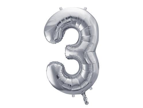 XL Folienballon Zahl 3 silber 86cm