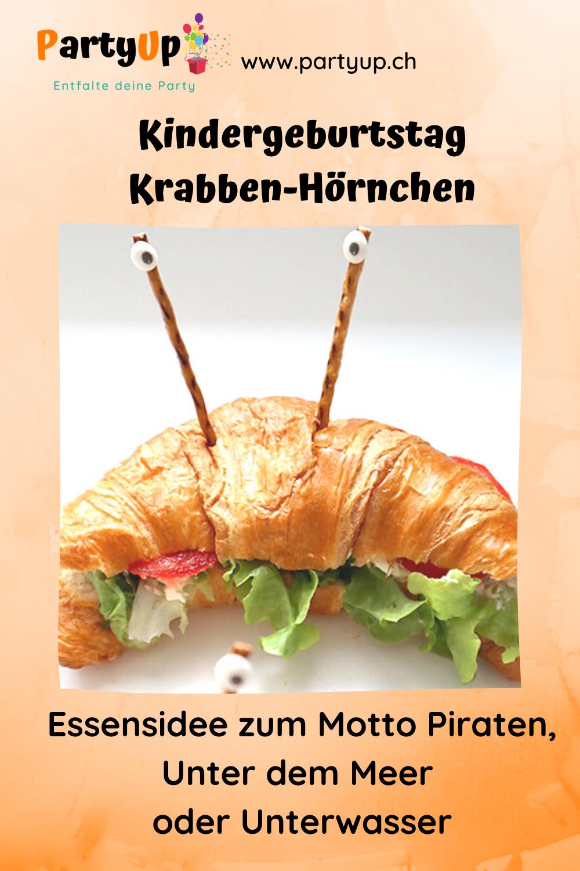 Pinterest Pin Krabben Hörnchen, herzhaftes Essen für den Kindergeburtstag zum Motto Piraten, Unter dem Meer oder Unterwasser