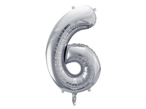 XL Folienballon Zahl 6 silber 86cm