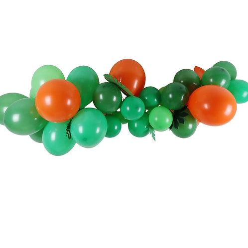 Ballongirlande orange, hellgrün und grün mit tropischen Blätter