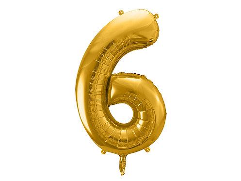 XL Folienballon Zahl 6 gold 86cm