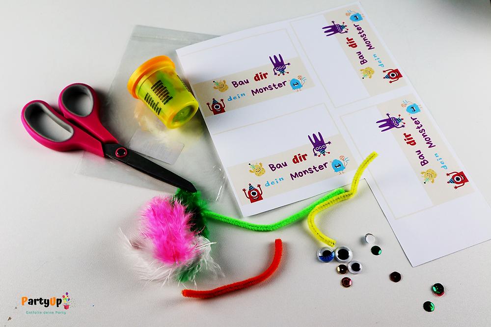 Monsterparty Gastgeschenk Mitgebsel Idee Bau dir dein Monster Kit
