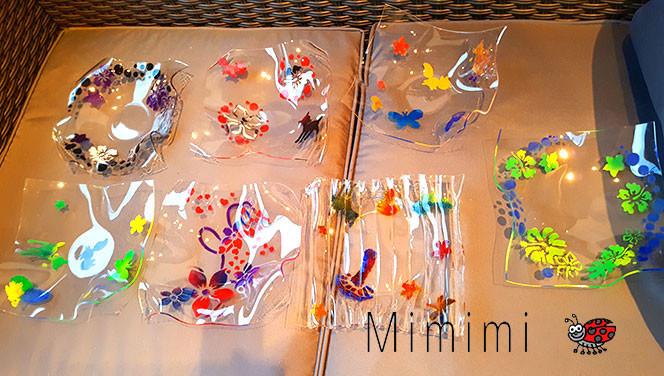 Geschenkidee Acrylglas Schalen basteln mit Kindern für Oma, Tante, Gotte