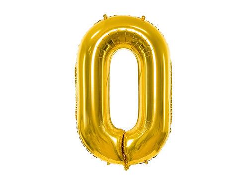 XL Folienballon Zahl 0 gold 86cm