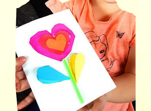 Einfache Herz-Blumen-Karte basteln mit Kindern