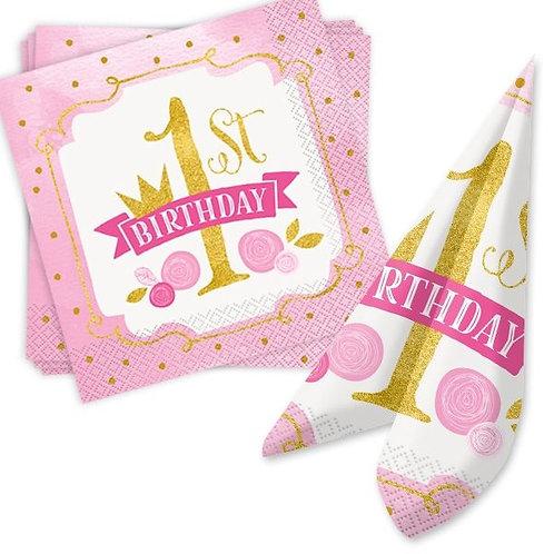 Serviette 1. Geburtstag Mädchen