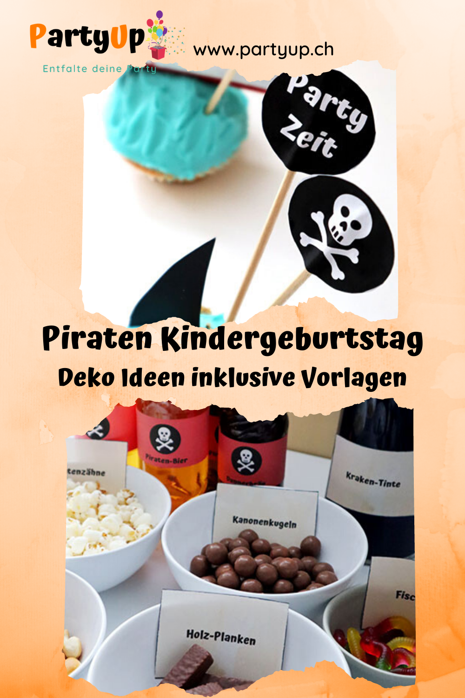 Piraten Geburtstag Deko Ideen für den Tisch zum Kindergeburtstag mit dem Motto Piraten Essen und Getränke Beschriftungen und Cupcake Toppers