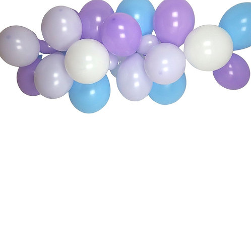 Ballongirlande lila, hellblau, violett und weiss