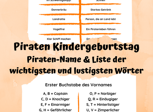 Piraten Kindergeburtstag - Wie heisst dein Kind als Pirat und der Piraten-Wortschatz?