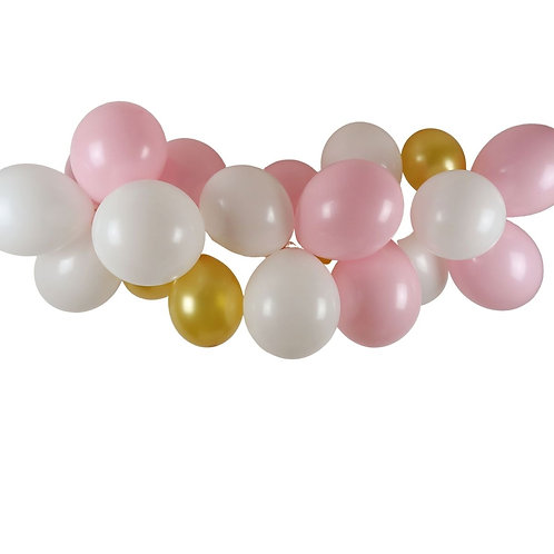 Ballongirlande rosa, gold und weiss