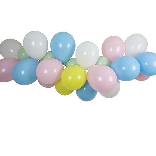 Ballongirlande gelb, rosa, hellblau, lindgrün, weiss