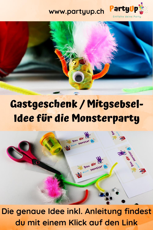 Gastgeschenk / Mitgebsel Idee für die Monsterparty aus Knete zum Geburtstag