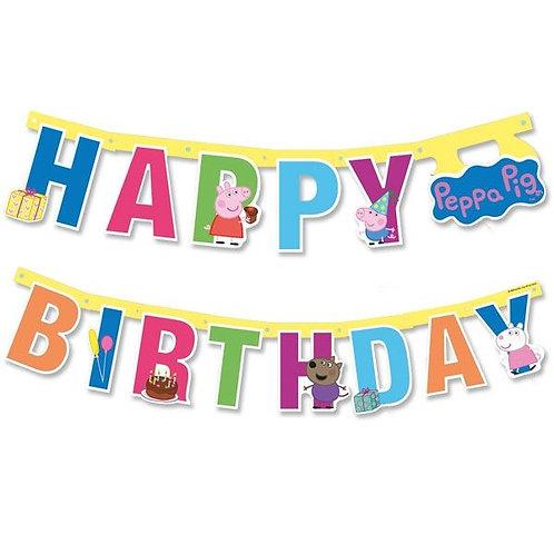 Bunte Happy Birthday Girlande Peppa Pig (Wutz)