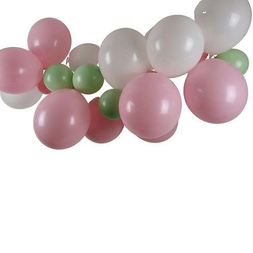Ballongirlande rosa, lindgrün und weiss