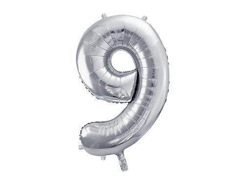 XL Folienballon Zahl 9 silber 86cm