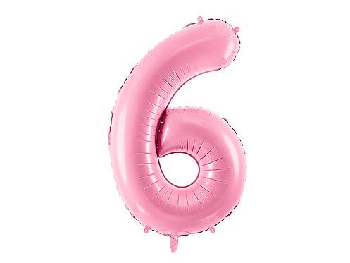 XL Folienballon Zahl 6 rosa 86cm