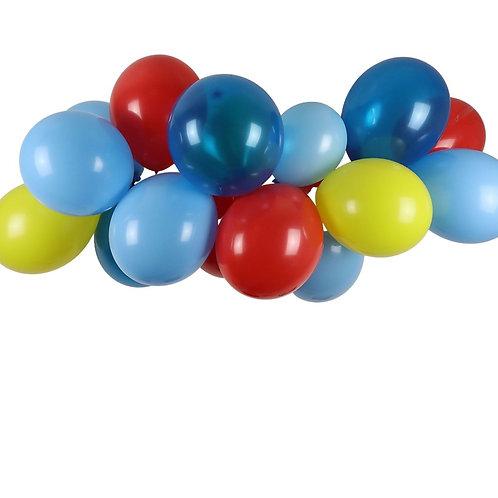 Ballongirlande gelb, rot, hellblau und blau