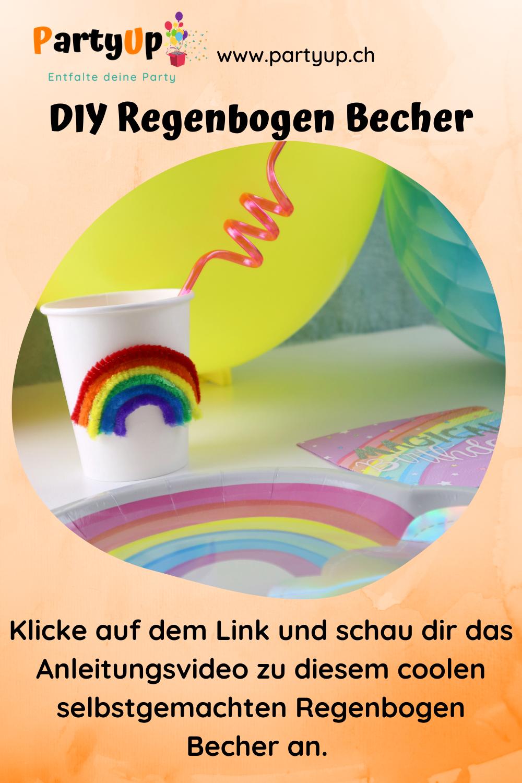 DIY Regenbogen Becher selbstgemacht als Deko für den Geburtstag zum Motto Einhorn / Regenbogen, diese coole Becher für den Kindergeburtstag basteln