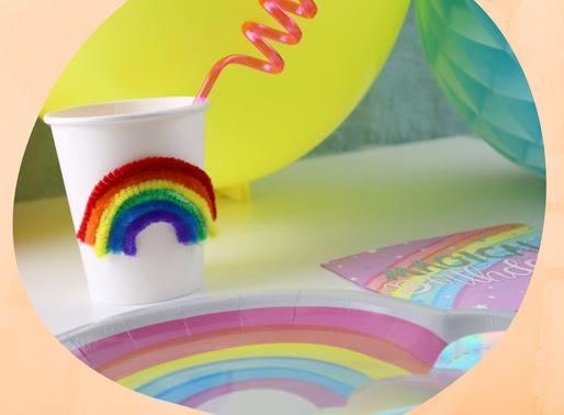Regenbogen Becher - Deko Bastelidee für den Regenbogen Kindergeburtstag