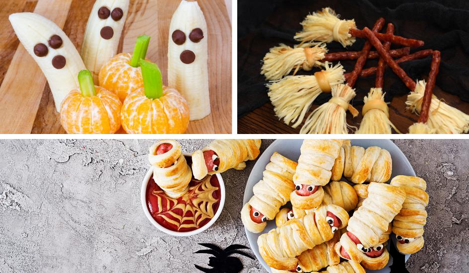 Snack Ideen für die Halloween oder Gruselparty mit Kindern. Geist aus Bananen, Kürbis aus Mandarinen, Mumien Würstchen im Teig, Hexenbesen aus Salzstangen und Käse