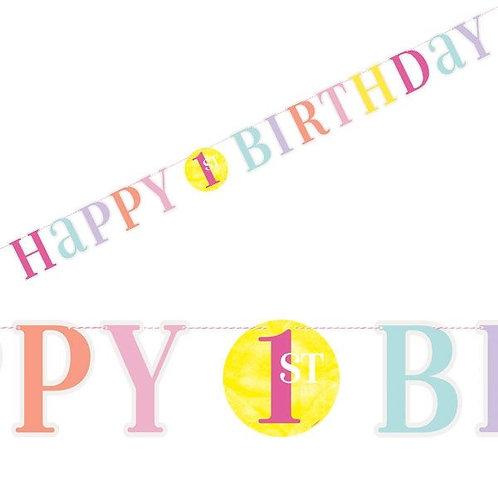 Bunte Girlande 1. Geburtstag für Mädchen