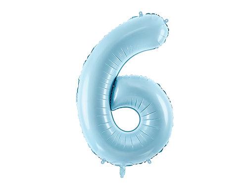 XL Folienballon Zahl 6 hellblau 86cm