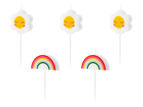 Kerzen Regenbogen und Blumen 5 Stück