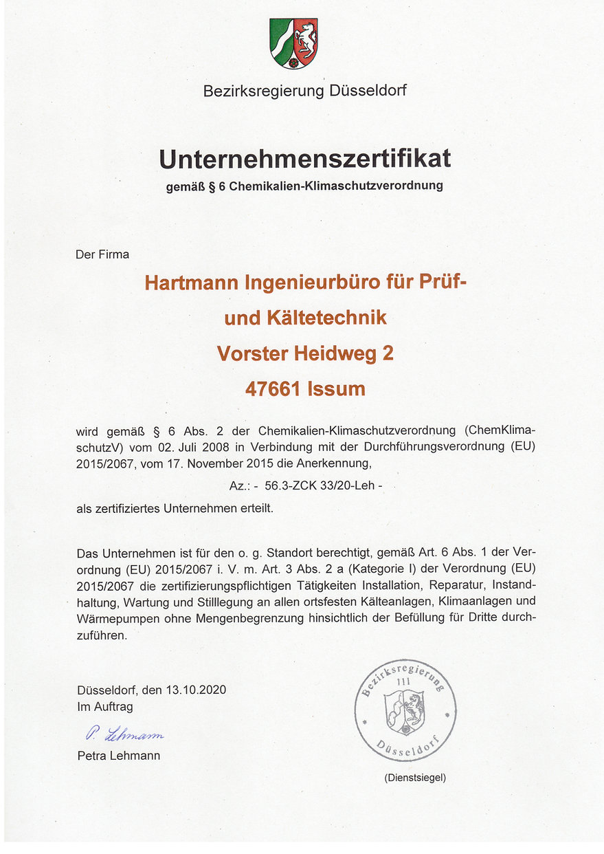 Unternehmenszertifikat Bezirksregierung.