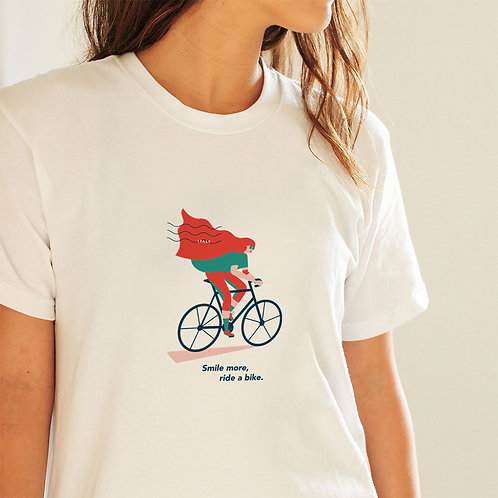 Smile more, ride a bike | T-shirt in cotone