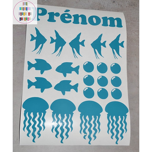 Planche stickers A4 - Poissons