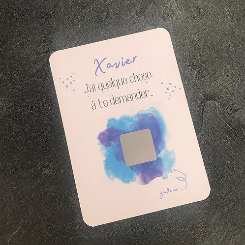 Carte à gratter peinture bleue