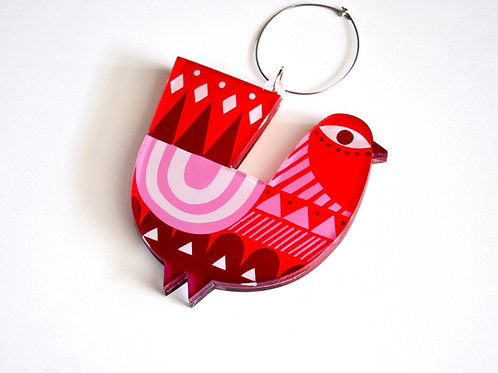 Red Peacock ornament