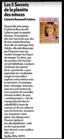 Cathrine Lefaivre hypnothérapeute dans Psychologie Magazine
