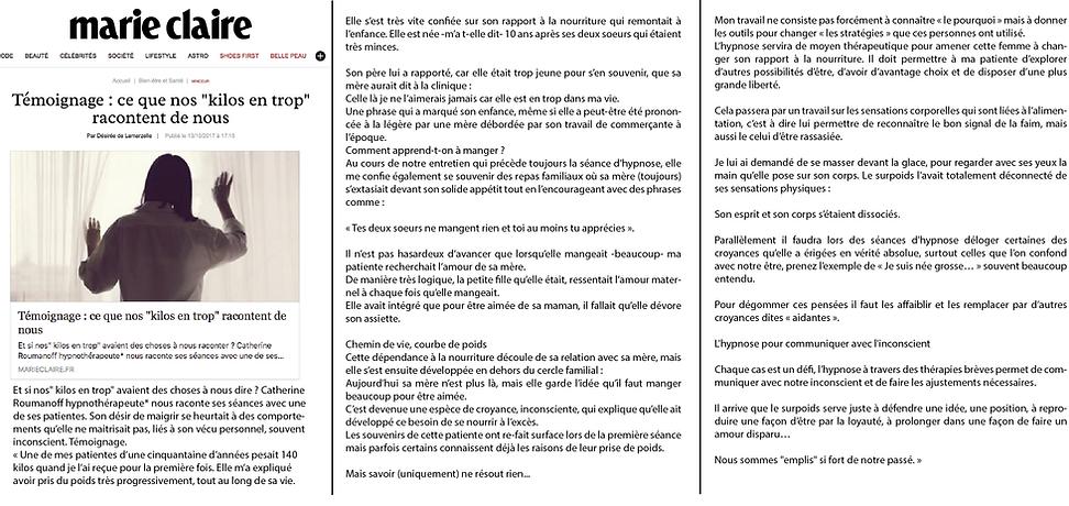 Article presse hypnose Catherine Lefaivre pour Marie Claire