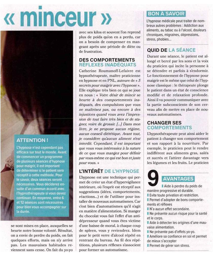 avis sur maigrir avec l'hypnose article de presse