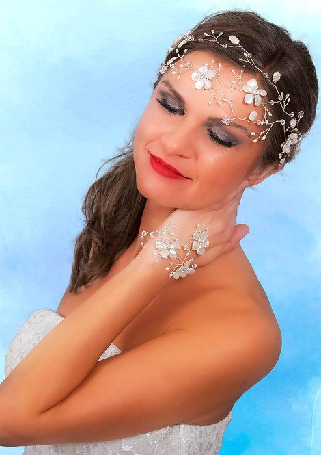 Keshi Pearls Headdress and matching Bracelet