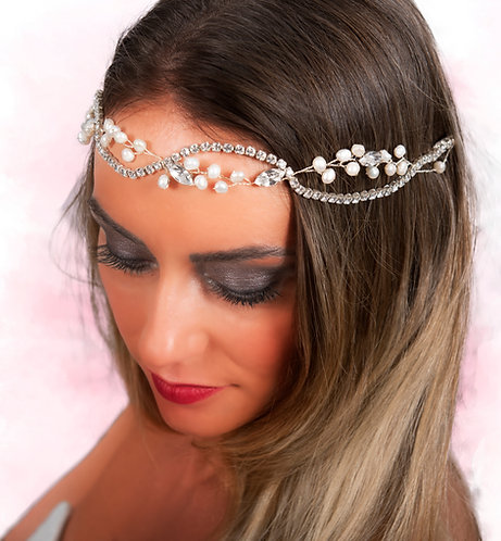 Double Row Rhinestone and Sweet Water Pearls Vine