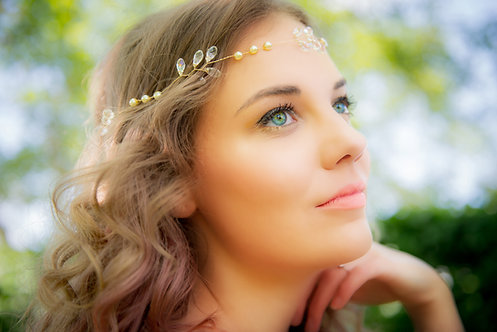 Boho style headband/halo with crystal drops