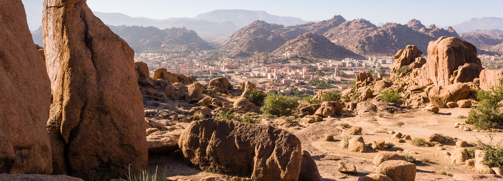 City of Tafraoute in the valley with red