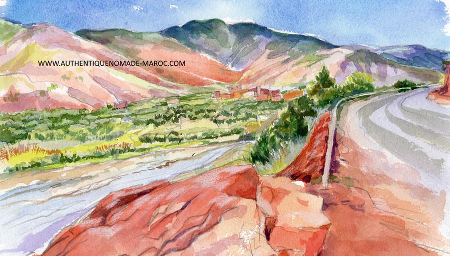 vallée ourika aquarelle