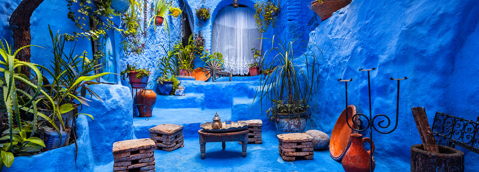 Typical moroccan courtyard in Chefchaoue