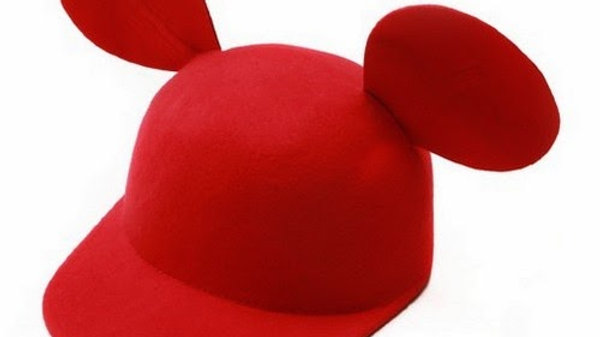 Red Adult size Wool Felt Mickey Mouse Ears Cap