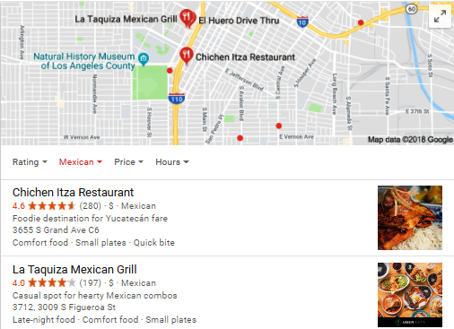 screenshot of mexican restaurant listing in Los Angeles