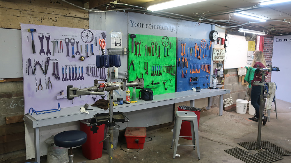 color coded work stations with labeled tools
