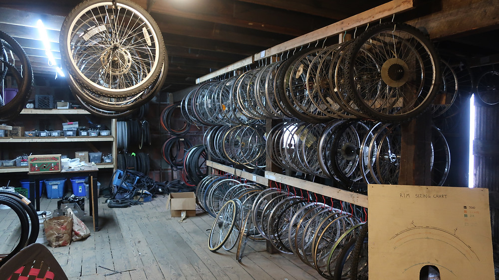 Thousands of salvaged parts organized & ready for use