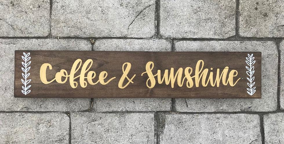 Coffee & Sunshine Wood Sign