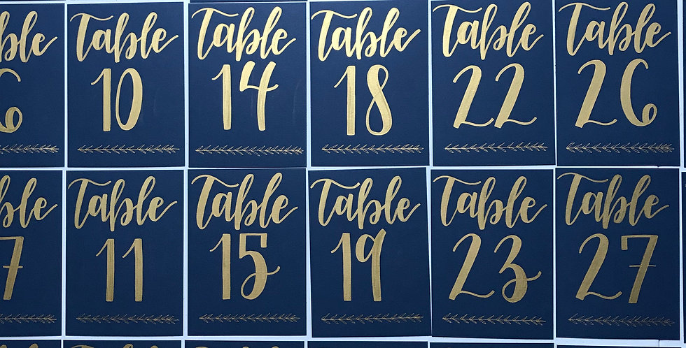Cardstock Table Numbers with Vine Design - Flat