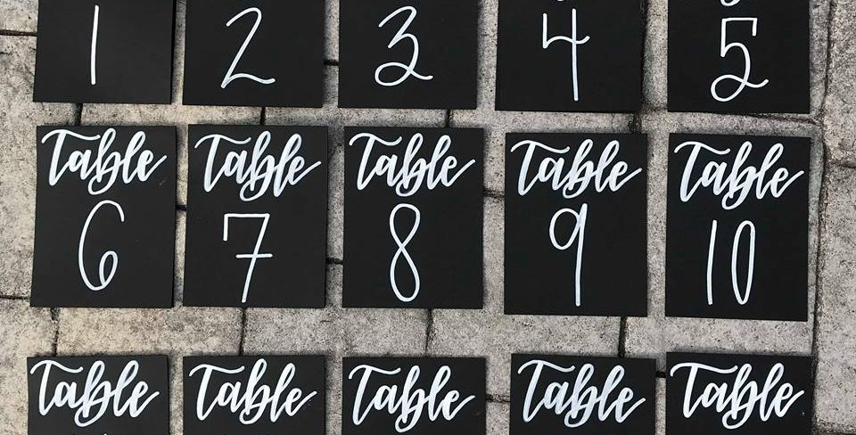 Cardstock Table Numbers -Tented