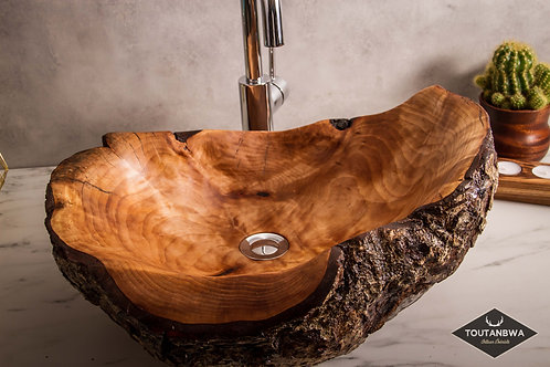 Burled wooden sink