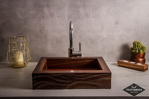 Small carved wood contemporary sink
